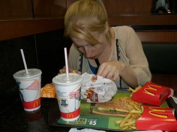 Rosie eating in a McDonald's in India