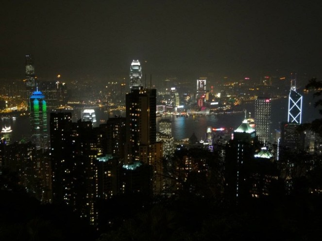 Hong Kong Island skyline at night viewed from Victoria Peak