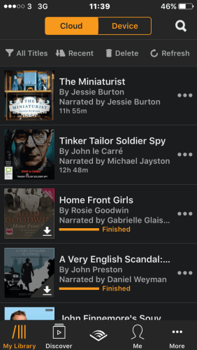 A screenshot of Rosie'sAudible library