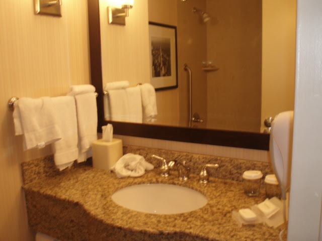 The bathroom in the Hilton Garden Inn