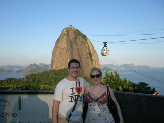 Rosie and Karl smiling in front of Sugar Loaf Mountain, Rio de Janeiro