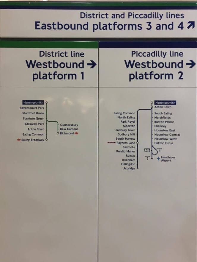 District and Piccadilly line map at the Hammersmith station