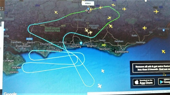 A screenshot of the flight routing that we took over the south coast