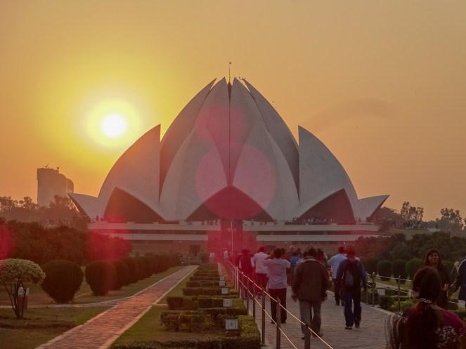 Bahá'í Lotus Temple, Delhi, India at sunset