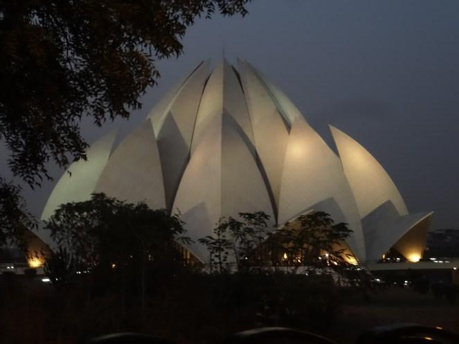 Bahá'í Lotus Temple, Delhi, India at night lit up