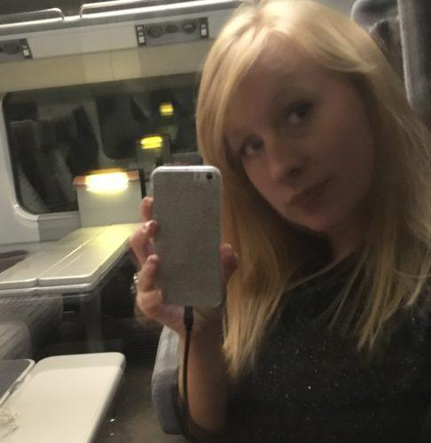 Rosie on a train
