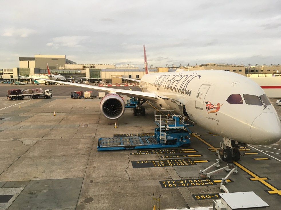 Virgin Atlantic Boeing 787-900 'Lucy in the Sky' plane on a stand at London Heathrow Airport
