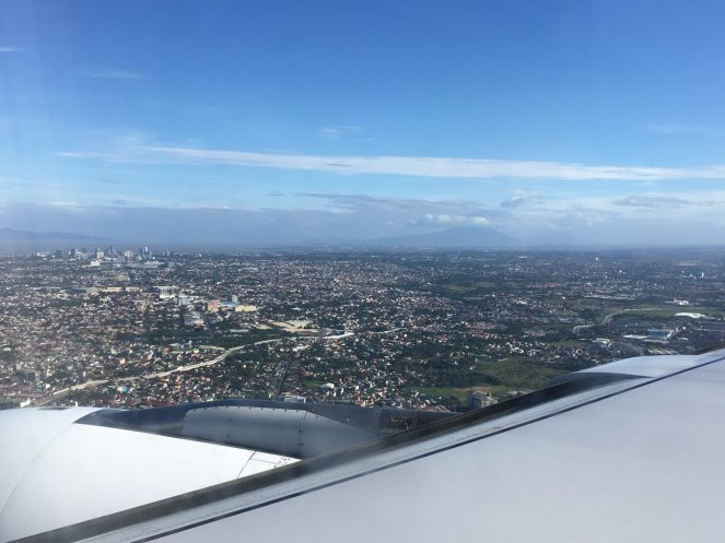 A view of Manila from the window of the plane