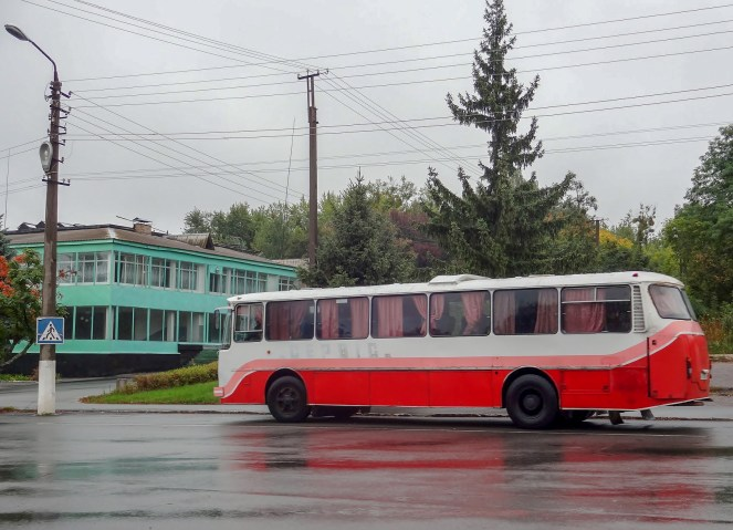 Vintage bus in Chernobyl
