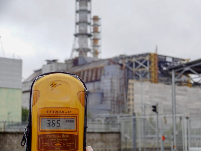Geiger meter at Chernobyl Nuclear Power Plant Reactor No. 4