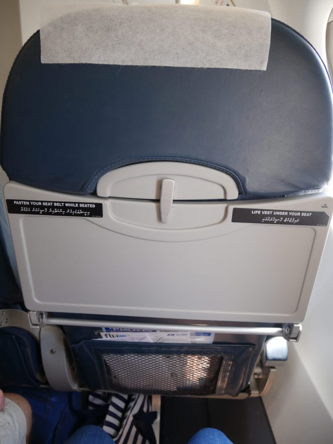 Seat back and tray table of Flyme ATR 72-500 plane