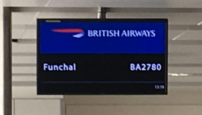 Info screen at London Gatwick Airport