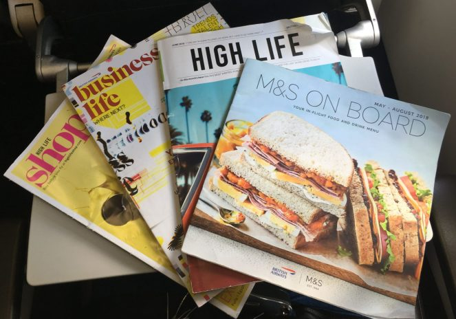 Economy magazines on a British Airways Airbus A320