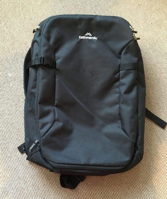 black front of a Kathmandu Litehaul 38L backpack