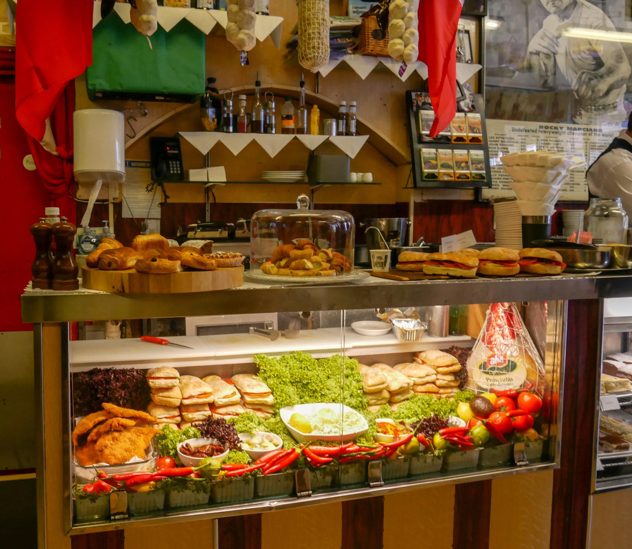the sandwich counter at Bar Italia, Soho, London