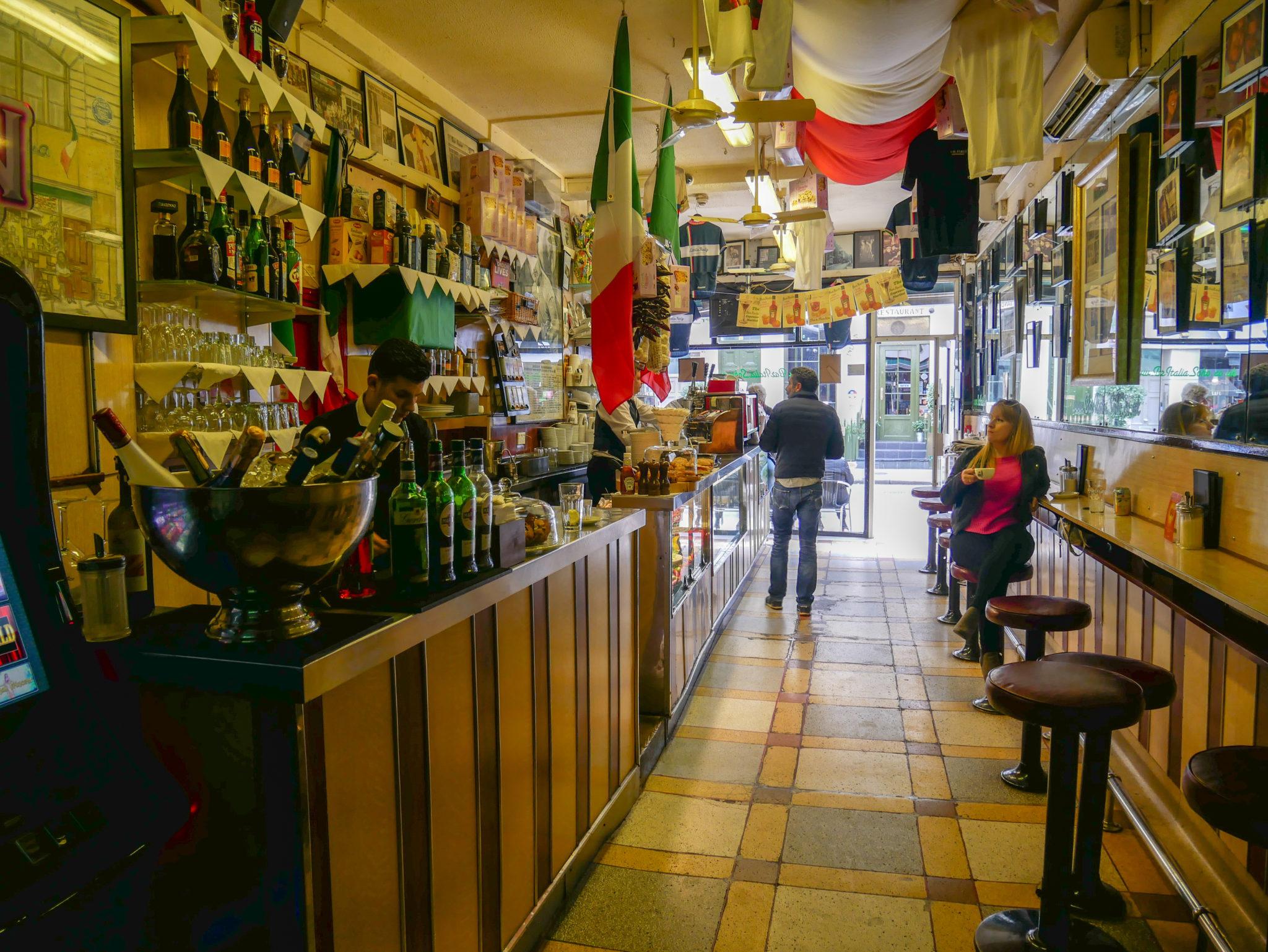 The inside of Bar Italia, Soho, London