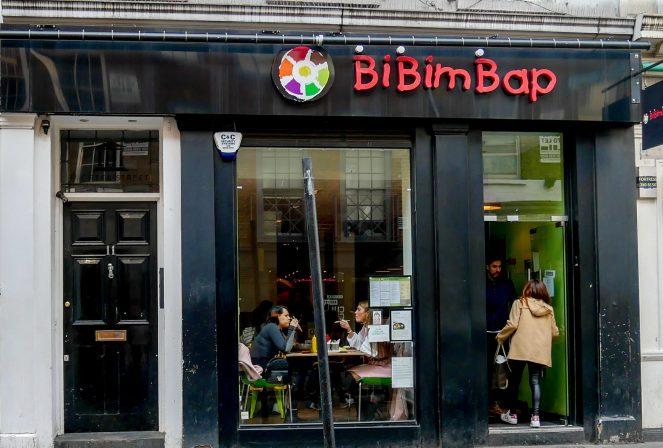 The outside of BiBimBap, South Korean restaurant in Soho, London