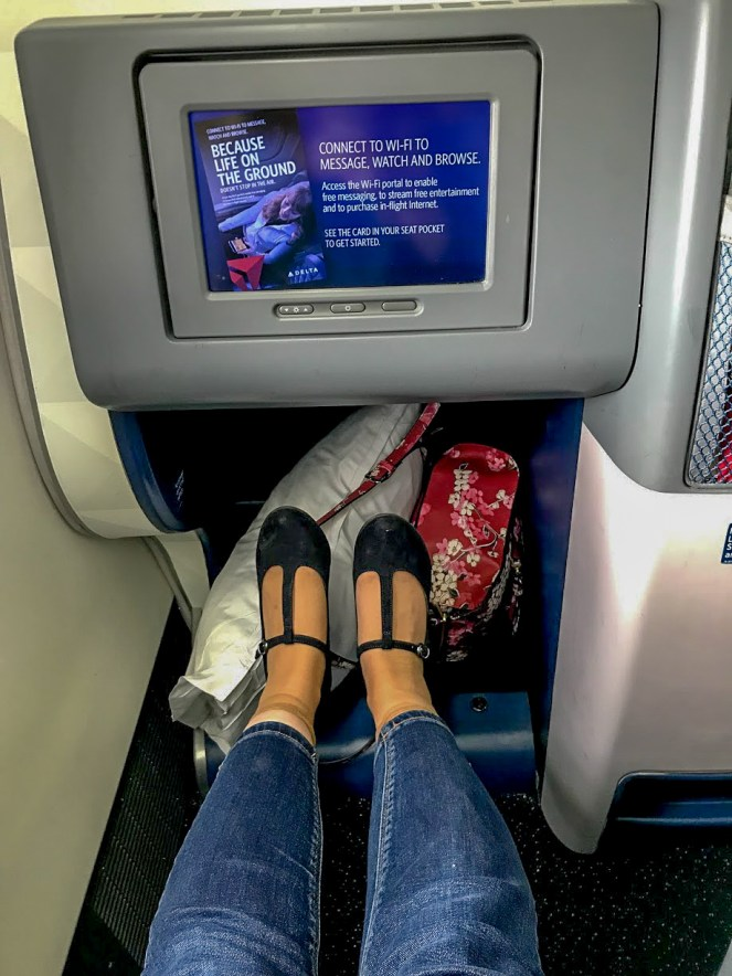 footwell and screen in Delta One on Delta Air Lines Boeing 767