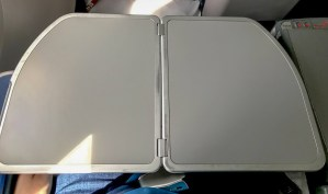 Tray table open on Delta One Delta Air Lines Boeing 767