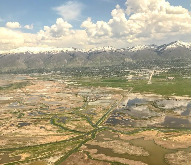 the Wasatch Mountains east of Salt Lake City from a plane