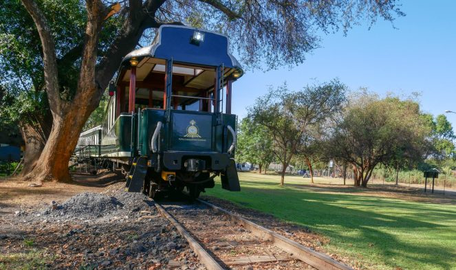 The green observation carriage at the back of the Royal Livingstone Express train