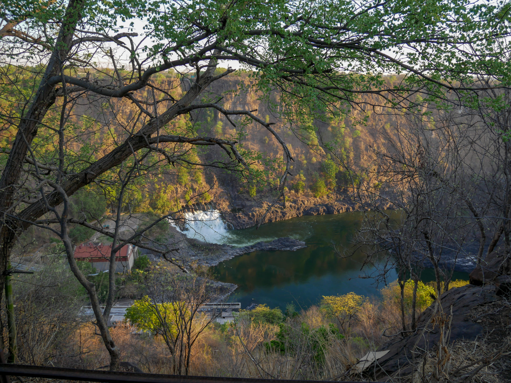 Victoria Falls seen from the Royal Livingstone Express train