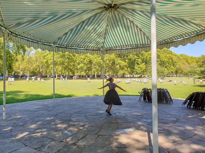 Rosie dances around the bandstand in St James's Park