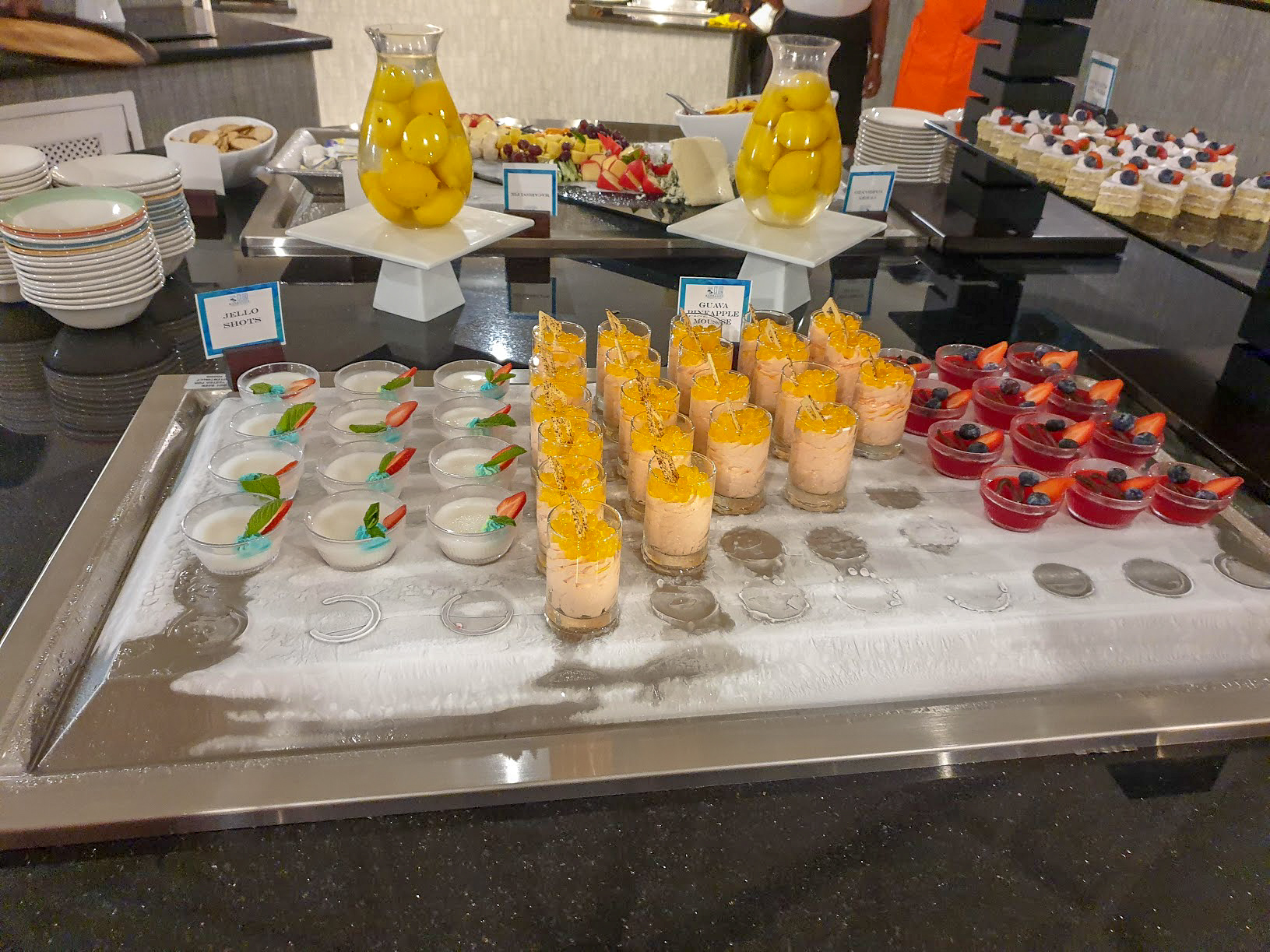 A collection of creamy, fruity desserts. I am not sure what they were.