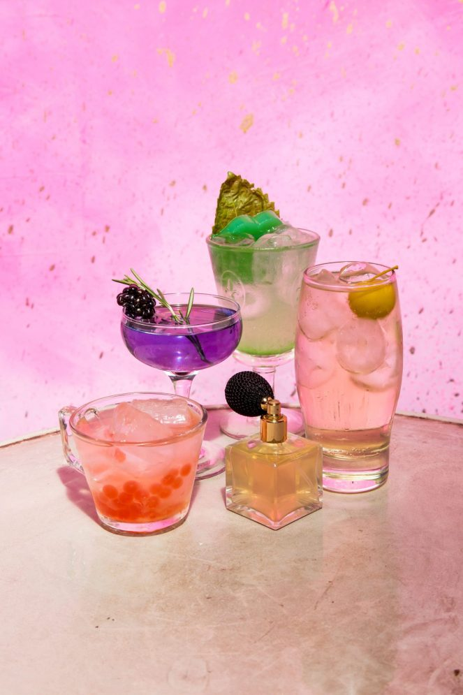 Delicious, brightly coloured cocktails.