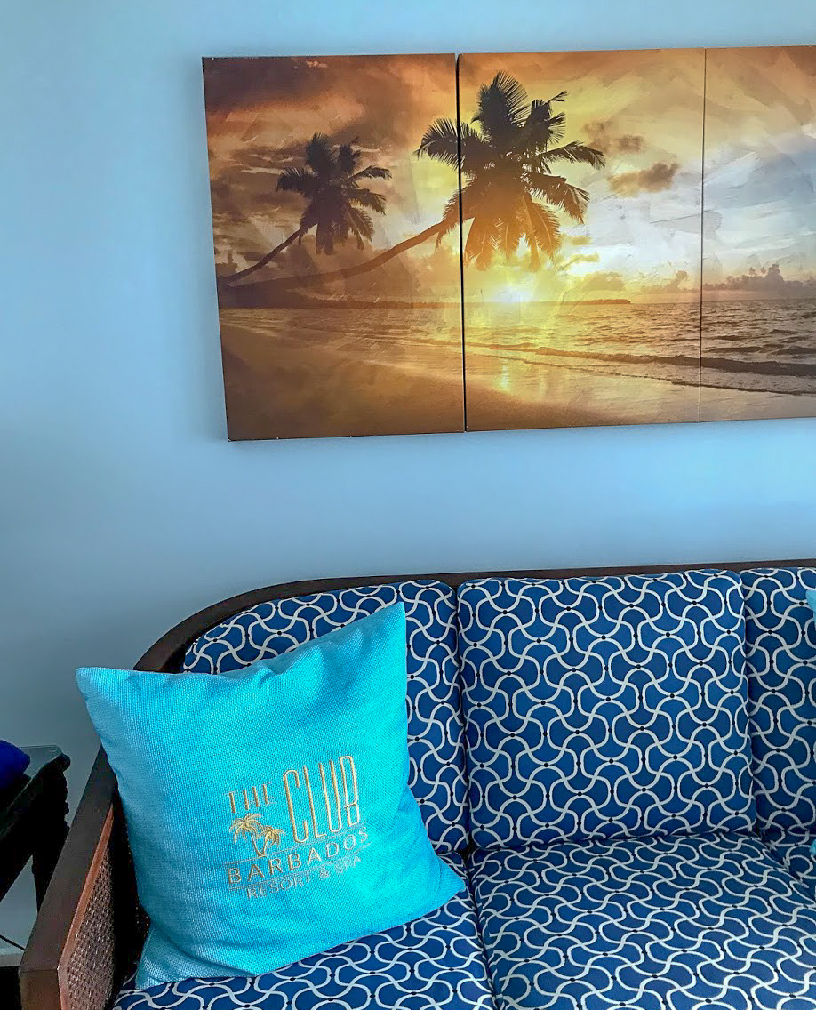 A heavily patterned sofa with a light blue cushion and a sunset picture above it