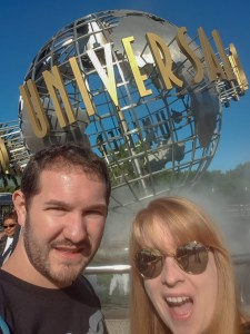 A selfie of Rosie and Karl in front of the Universal Globe sign, Universal Studios Hollywood