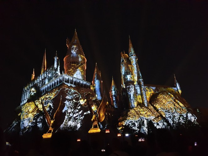 Dark Arts projections light up the towers of Hogwarts