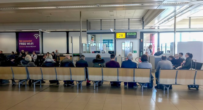 airBaltic departure gate at London Gatwick South Terminal