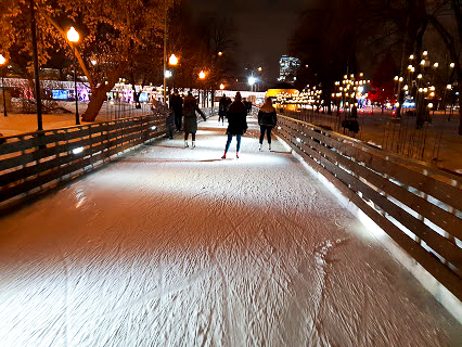 ice rink lit up at night in Gorky Park, Moscow, Russia