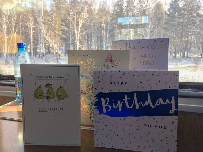 Birthday cards on a table on a Trans-Siberian Train