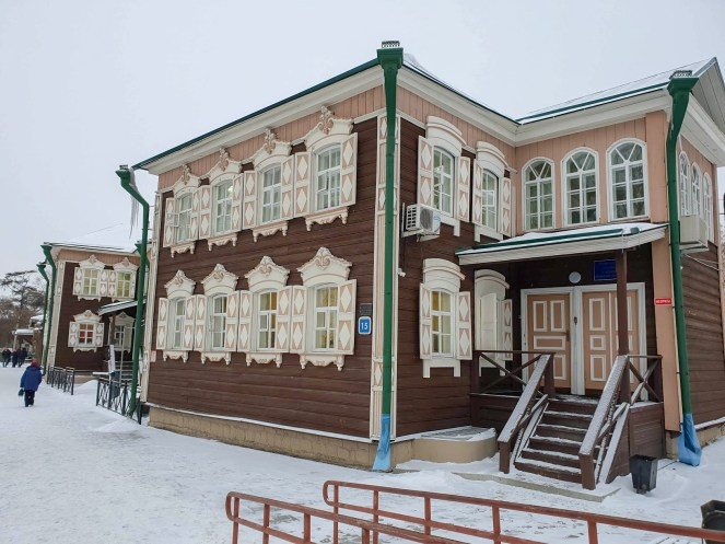 A pastel coloured wooden building in Irkutsk, Russia