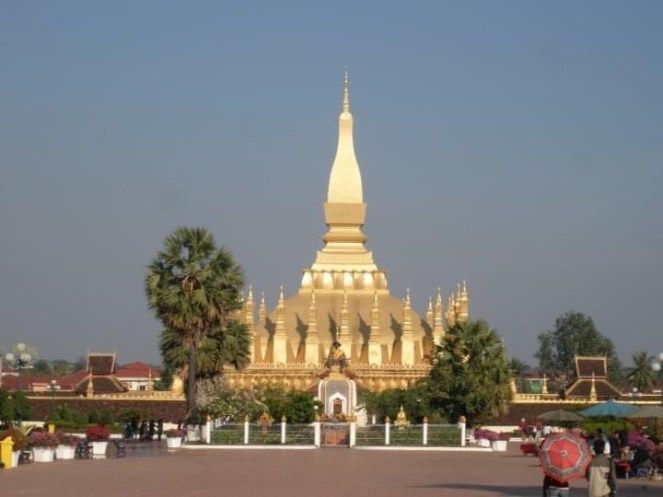 Pha That Luang golden Buddhist Stupa in Vientiane, Laos