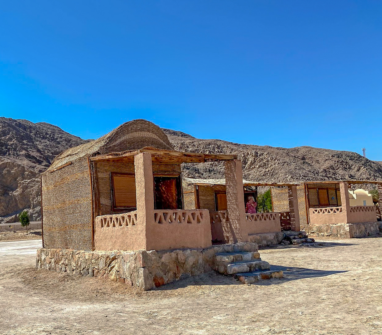 Husha hut on the beach at Aqua Sun, Gulf of Aqaba, Egypt