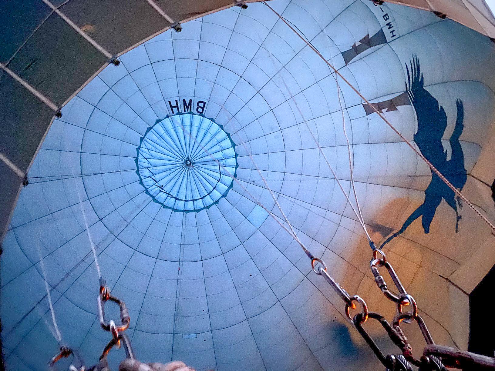 The inside of a blue hot air balloon from Turquaz Balloons, Cappadocia, Turkey