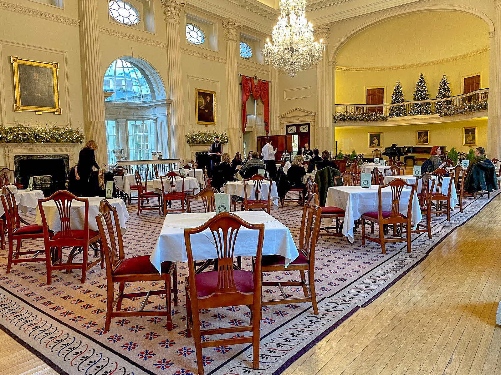 The table and chairs in The Pump Room Bath