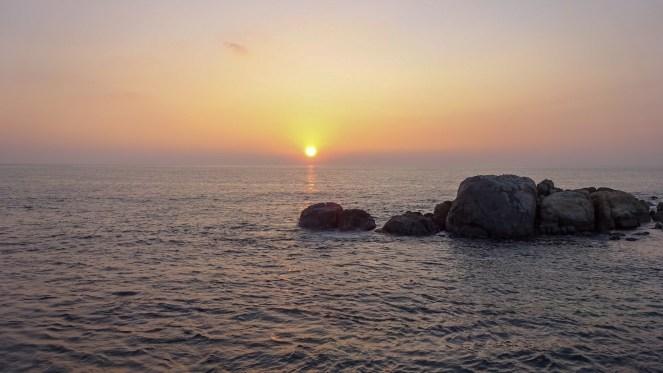 Sunset over the sea in Sri Lanka
