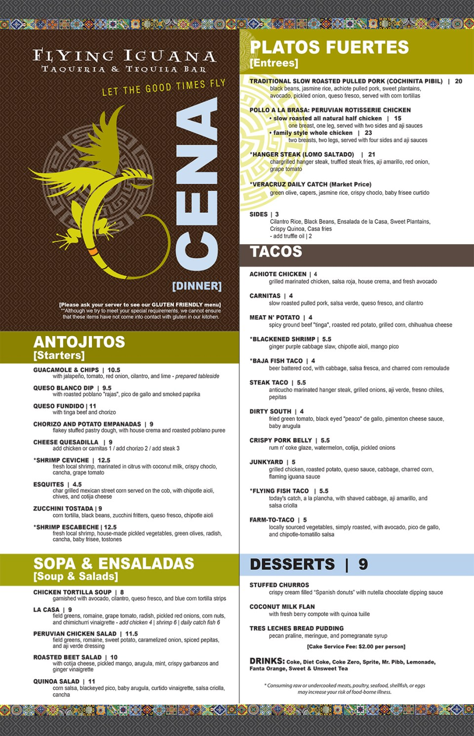 Flying Iguana Dinner Menu