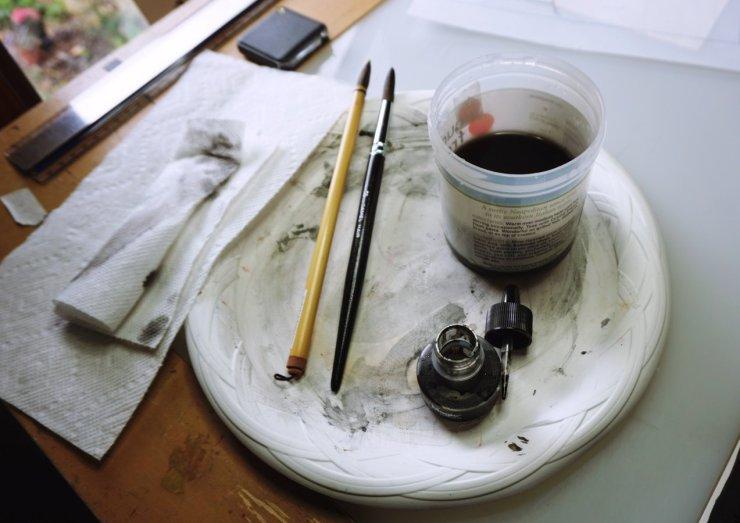 ink, brushes, artwork, pen and ink, scratchboard, artist tools
