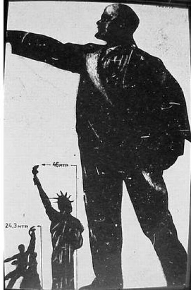 Worker and peasant, Statue of Liberty and Lenin, for scale. Source:http://gadzetomania.pl/4945,niezwykle-konstrukcje-cz-11-palac-rad-najwyzszy-budynek-swiata