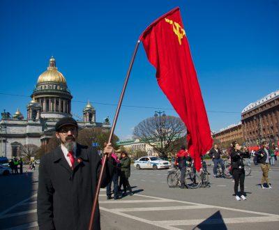 Communist demontration in St. Petersburg