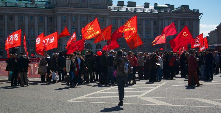 Communist demostration in St. Petersburg