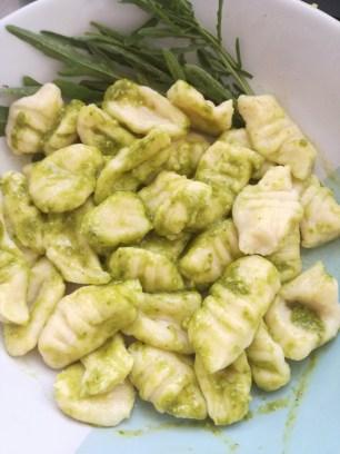 Gnocchi with basil pesto & fresh rocket