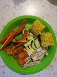 Rotisserie style roast chicken, slow cooked corn & carrot, roast pumpkin & kumara, crisp zucchini.