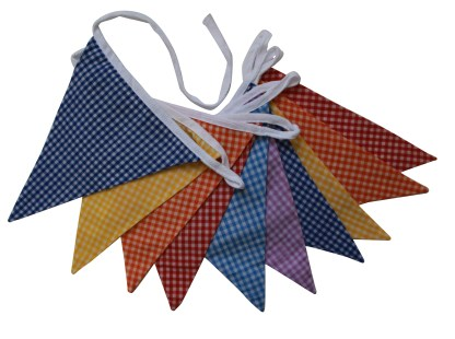 3m Double sided fabric bunting – Multi Gingham