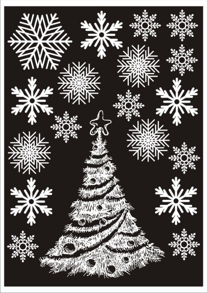 Two Christmas Trees and 36 Snowflake Window Stickers Decorations